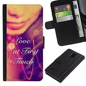 KLONGSHOP // Tirón de la caja Cartera de cuero con ranuras para tarjetas - AMOR A PRIMERA TÁCTIL - Samsung Galaxy Note 4 IV //
