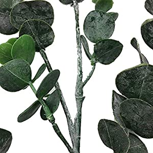 MARJON Flowers3 Pack Faux Eucalyptus Leaves Spray with 5 Stems Artificial Eucalyptus Branches Plants Artificial Greenery Stems Tall in Grey Green for Greenery Wedding Party Floral Arrangement 2