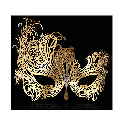 FaceWood Masquerade Mask for Women Ultralight Gorgeous Gold & Silver Shiny Metal Rhinestone Mask. (Queen Gold) (Masquerade Gold Mask)