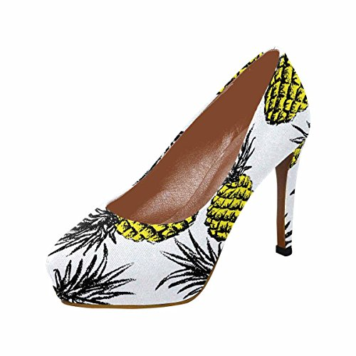 Interestprint Womens Klassiskt Mode Hög Klack Plattform Pumpar Ananas