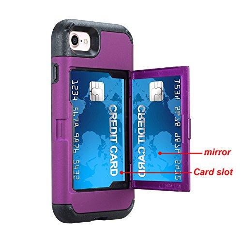 iPhone 7 / iPhone 8 Funda, FindaGift Soft TPU + PC híbrido A prueba de choques Estuche de teléfono con espejo y ranuras para tarjetas Caja del teléfono de las muchachas para iPhone 7 / iPhone 8 Cyan Púrpura + Negro