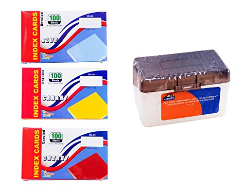 Colored Index Cards, 3x5-Inch, Unruled, Colors: Canary-Blue-Cherry - Plastic Index Card Case (Random Color: Black, Blue), Holds 300 Index Cards from Northland Wholesale. (3 Packs of 100, Index Case) by ThreeLeaf