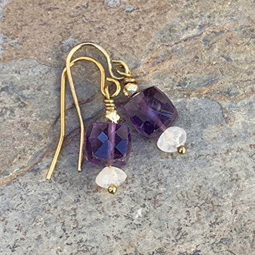 Amethyst and Moonstone Earrings with Gold Vermeil, 1 inch long.