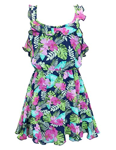 Truly Me, Toddler Girls' Tropical Floral Print Sleeveless Designer Dress with Ruffle Detail and Spaghetti Straps, Size 2T-4T (Navy Tropical, 2T)