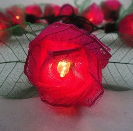Thai Vintage Handmade 35 Red Rose Flower Fairy String Lights Wedding Party Patio Floral Decor 3.5m