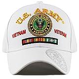 vietnam veteran cap - THE HAT DEPOT Official Licensed U.S. Military Vietnam Veteran Ribbon Cap (White-U.S. Army)