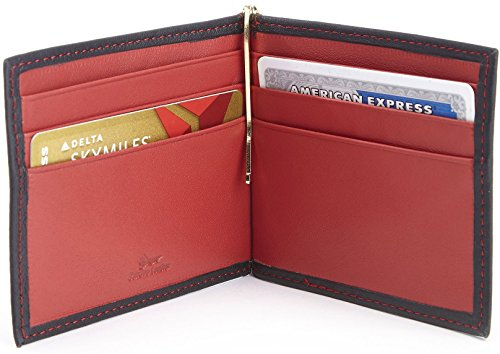 Royce Leather Rfid Blocking Money Clip Credit Card Wallet in Leather, Black and Red