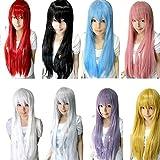 hair dryer looks like gun - LUNIWEI 80CM Long Straight Cosplay Wig Multicolor Heat Resistant Full Wigs