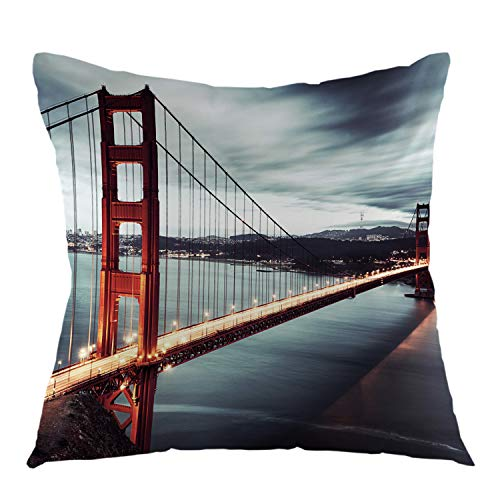 oFloral Bridge Pillow Case Golden Gate Bridge Throw Pillow Cover Square Cushion Cover for Sofa Couch Bedroom Living Room Dorm Decoration 18 x 18 Inch (Sofa Stores San Francisco)