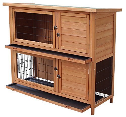 Merax Rabbit Hutch Wooden House Wooden Cage for Small Animals (Rabbit Hutch#1) (Rabbit Cages)