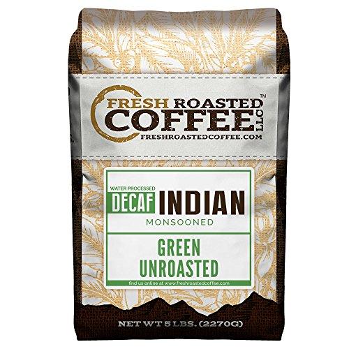Green Unroasted Coffee, 5 Lb. Bag, Fresh Roasted Coffee LLC. (Indian Monsoon Water Decaf)