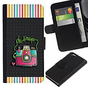 Snap cuadro de la cámara de fotos del lunar- la tarjeta de Crédito Slots PU Funda de cuero Monedero caso cubierta de piel Para Apple (4.7 inches!!!) iPhone 6 / 6S