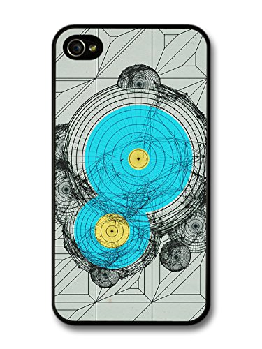 New Style Circles in Blue and Yellow on Abstract Line Art case for iPhone 4 4S