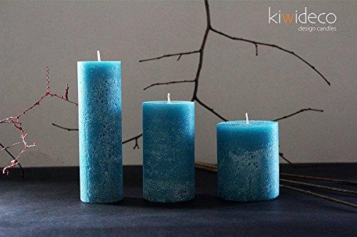 Kiwideco Handmade Turquoise Rustic Pillar Candles Set - Scandinavian design home decor for modern interior design ()