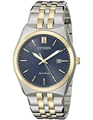 Citizen Mens Eco-Drive Stainless Steel Watch with Date, BM7334-58L