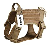yisibo Comfortable Molle Tactical Dog Harness Military K9 Working Water-Resistant Hiking Dog Vest with Handle,Medium (23.5