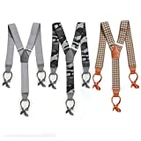 BMC 3pc Mens Elastic Adjustable Strap Y-Back Genuine Leather Button End Suspenders