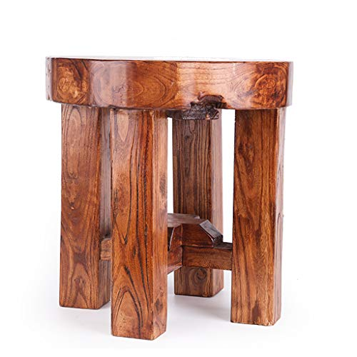 Bath Stool Wooden Stool Chair Old Elm Dining Stool Adult Change Shoe Bench Log Pastoral Coffee Table Stool Household Bath Stool Low Stool (Size : - Cocktail Elm Table