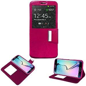 Donkeyphone 599371031 - flip cover rosa para samsung galaxy s6 edge g925 funda con ventana, tapa, apertura libro, cierre con iman y soporte