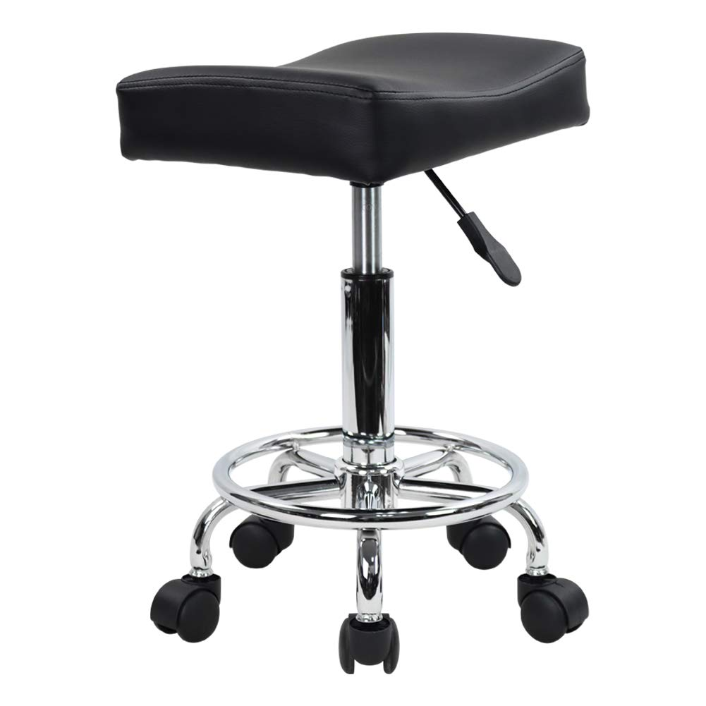 KKTONER Square Rolling Stool PU Leather Height Adjustable Swivel Massage SPA Salon Stools Task Chair with footrest (Black)