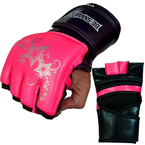 Auth. Rex Leather MMA Grappling Gloves Boxing Punch Bag UFC Gel Tech Muay Thai (Pink, Small)