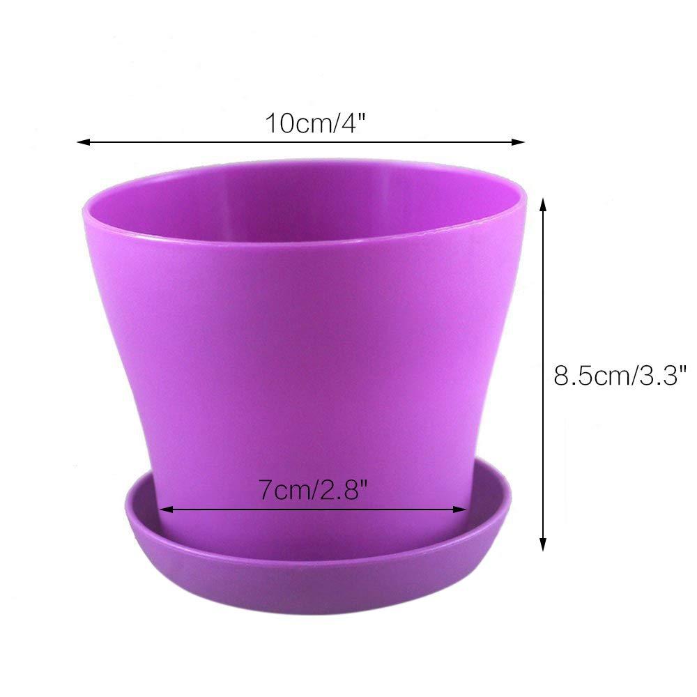 KINGLAKE 8 Pcs 10 cm Petite Pots de Plantes Color/ées en Plastique Pots De Fleurs Plantes Dint/érieur Pots pour Bureau Maison avec Palette//Plateaux 8 Couleurs