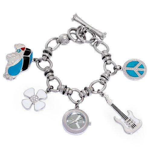 Lucky Brand Women's 161237CHRM Silver-Tone Dangle Charm Bracelet Watch (Lucky Brand Watches For Women)