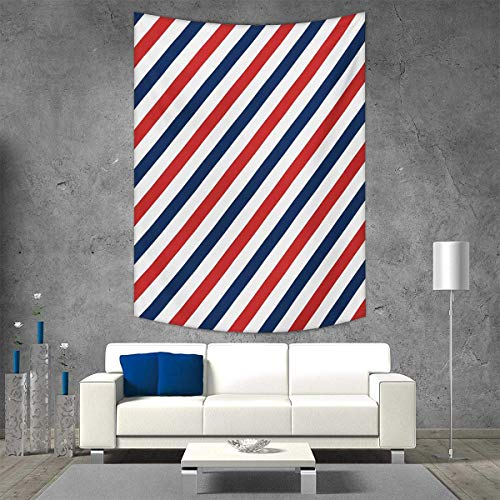 smallbeefly Harbour Stripe Tapestry Table Cover Bedspread Beach Towel Vintage Barber Pole Helix of Colored Stripes Medieval Contrast Design Dorm Decor Beach Blanket 40W x 60L INCH Blue Red White