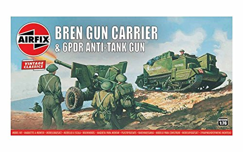 ics Bren Gun Carrier & 6 PDR Anti-Tank Gun 1:76 Military Ground Vehicles Plastic Model Kit A01309V ()