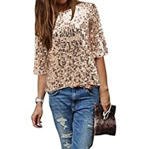 Fashion Women's Shiny Beads Sequins Half Sleeve Loose Blouse Top T-Shirt
