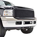 E-Autogrilles 05-07 Ford F-250/F-350/F-450 Super Duty Glossy Black ABS Replacement Mesh Grille Grill with Shell (41-0103B)