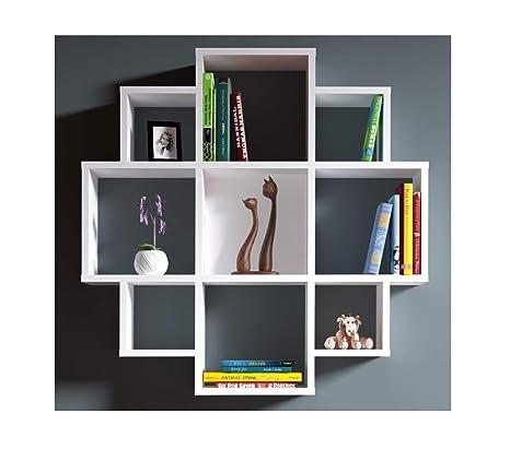 Homidea Bloom Mensola da Muro – Bianco – Mensola Parete – Mensola Libreria  – Scaffale pensile per Studio/Soggiorno in Un Design Moderno.