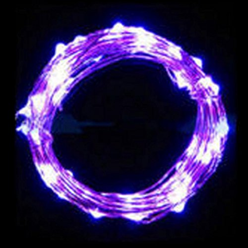 String Fairy Light 20 LED Battery Operated Xmas Lights Party Wedding Lamp,Tuscom (5M/50pc LEDs/ 2x coin cell battery, Purple)
