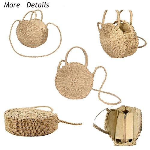 Rattan Donalworld Round Bag Tote Bg Clasp Shoulder Bag Natural Handwoven Bow xxRqwB5E
