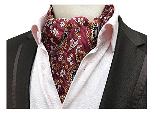 Silk Floral Coat (Elfeves Men's Wine Red Orange Floral 100% Silk Cravat Ties Jacquard Party Ascot)