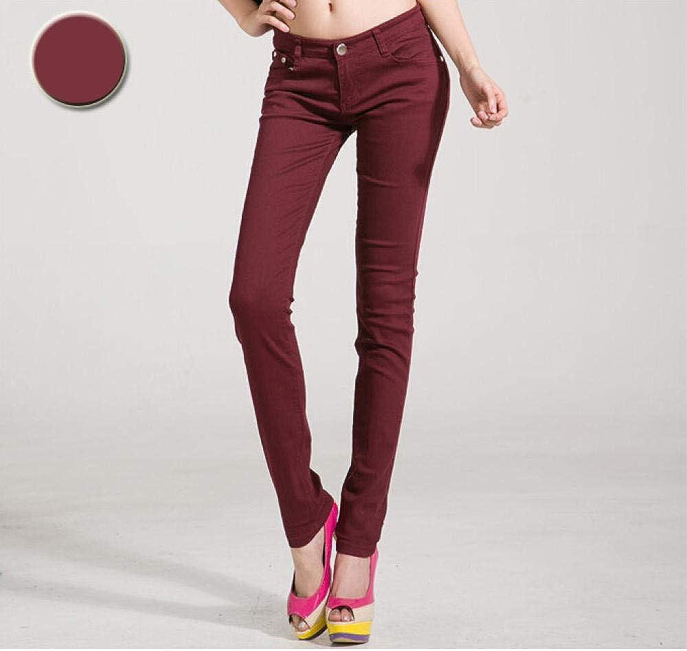 Leggings Denim Pants Woman Jeans Solid Pencil Women Pants Girls Sweet Candy Color Slim Trousers K104 Coffee