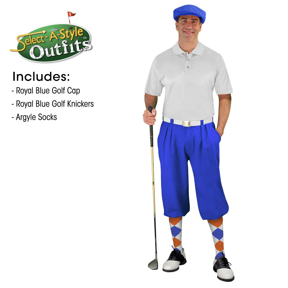 Golf Knickers Mens Select A Style Outfit - Matching Golf Cap - Royal - Waist 52 - Sock - White/Royal/Orange by Golf Knickers