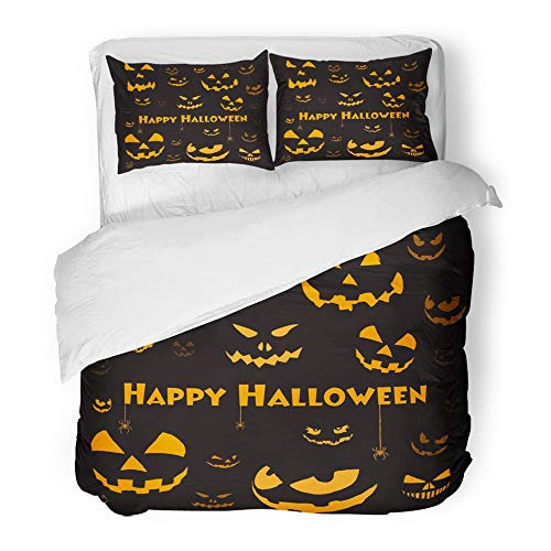 Emvency 3 Piece Duvet Cover Set Brushed Microfiber Fabric Breathable Orange Candy Spooky Halloween Faces on Black Red Autumn Candle Carved Dark Eve Bedding Set with 2 Pillow Covers Twin Size