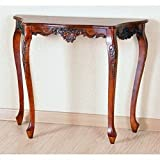 queen anne sofa table - International Caravan 3875-IC Furniture Piece Carved Four Leg Scalloped Wall Table, 0
