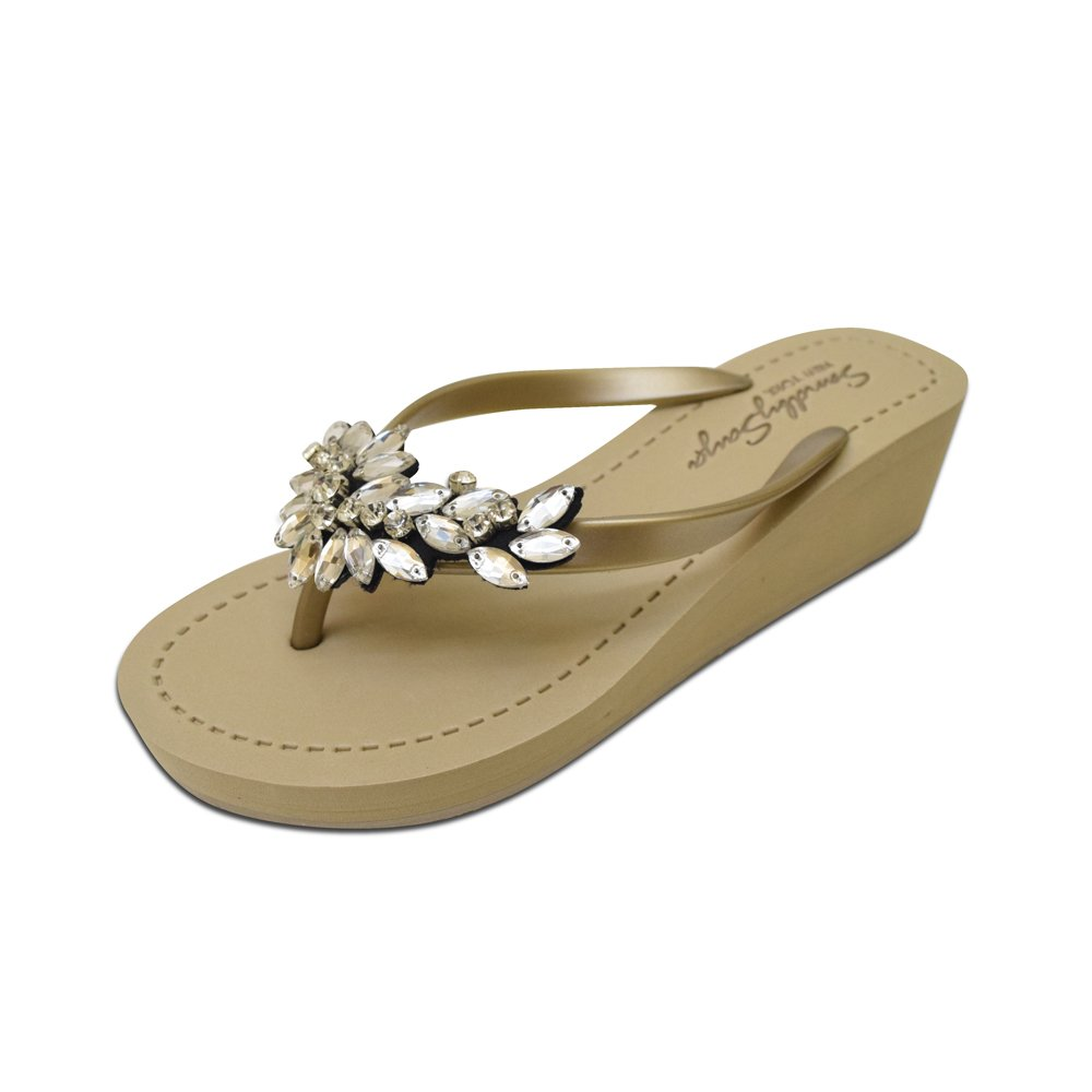 Sand by Saya Crystal Manhattan Comfortable Rubber Sandals with Thong Stripe - Mid Wedge B06XTTTGNS 5 - XS|Gold