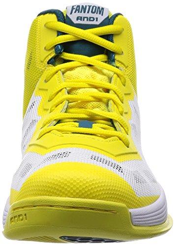 And1 Mens Fantom Basketbalschoen Blauw-koraal / Geel