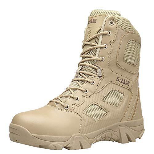 - HOSOME Men Hiking Boots Outdoor Non-Slip Wear-Resistant Combat Mountaineering Shoes Khaki