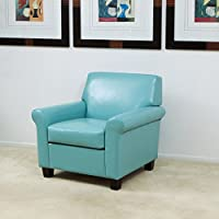 Christopher Knight Home 258617 Yonkers Oversized Blue Bonded Leather Club Chair, Teal