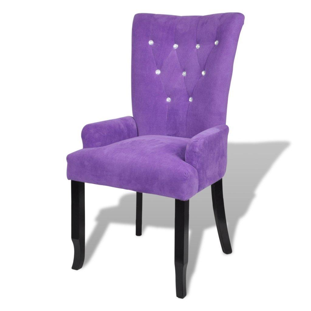 Amazon.com   Anself Tufted Dining Chair Luxury Velvet Soft Padded Armchair  High Back, Purple   Chairs