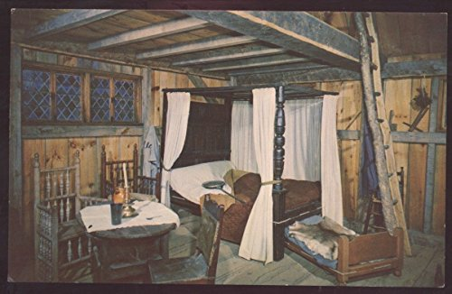 Plimoth Plantation Plymouth Massachusetts Interior Postcard Pilgrim House Bed (Plymouth Bed)