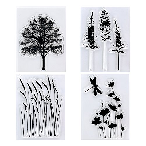 (Kwan Crafts 4 Sheets Different Style Tree Flowers Clear Stamps for Card Making Decoration and DIY)