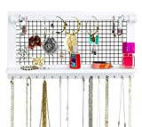 SoCal Buttercup White Jewelry Organizer with Removable Bracelet Rod from Wooden Wall Mounted Holder for Earrings Necklaces Bracelets and Other Accessories