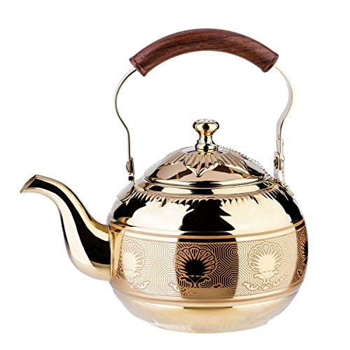 (1.5 Liter Tea Pot Gold Pot with Infuser for Loose Leaf Tea Stainless Steel Coffee Kettle 6 Cup Induction Stovetop Copper Teapot Strainer Office Hot Water Mirror Finish 1.6 Quart 51 Ounce by Onlycooker)
