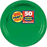 """Amscan Festive Green Big Party Pack Paper Plates, 7"""" Dessert Plates (50 count)"""