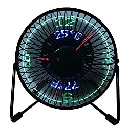 USB LED Fan, 6 Portable Fan 360° Rotation with Clock and Temperature Display, Metal Design, Black